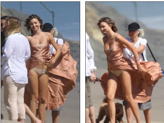 Miranda Kerr hồn nhiên dù lộ nội y vì gió cuốn tung váy - 3