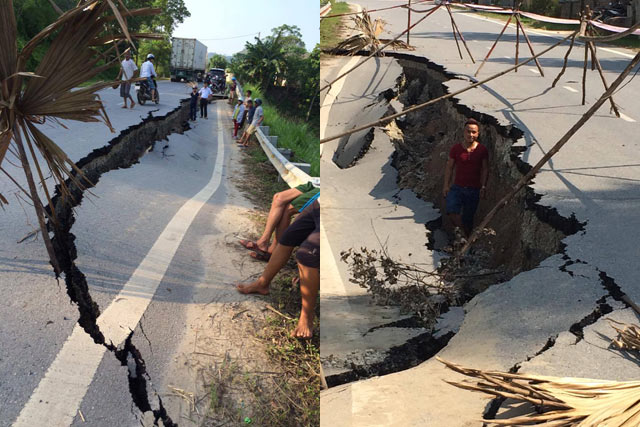 Yên Bái: Xuất hiện vết nứt khổng lồ trên quốc lộ - 2