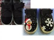 Bố mẹ khéo tay làm ngay giày họa tiết xinh cho bé
