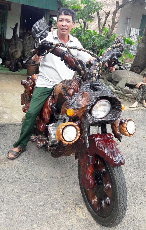 Độc đáo: Chiếc mô tô bằng gỗ độc nhất vô nhị ở Lâm Đồng - 1