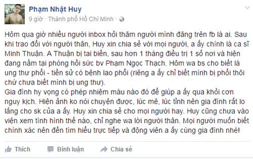 Ca sĩ Minh Thuận nguy kịch vì ung thư phổi - 3