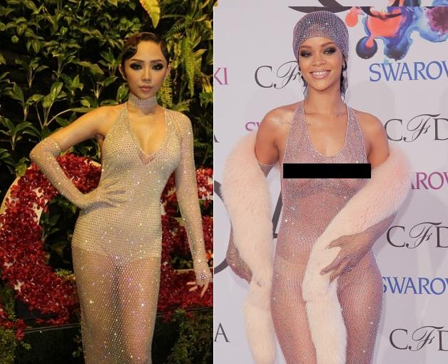 Diện đầm trong suốt, Rihanna và Tóc Tiên ai gợi cảm hơn? - 7