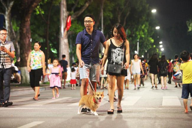 Chó nhe nanh, thè lưỡi tung tăng dạo phố đi bộ Hồ Gươm - 2