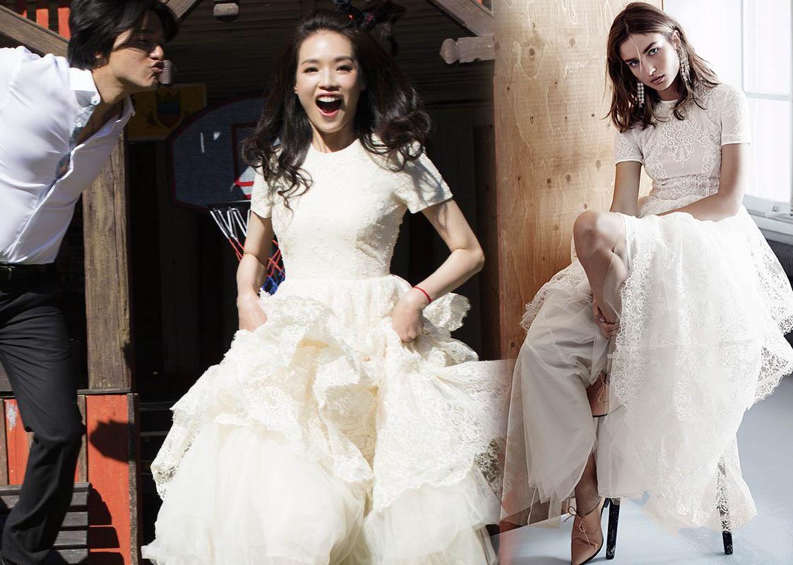 Thư Kỳ chỉ diện váy cưới bình dân trong ngày vu quy - 1