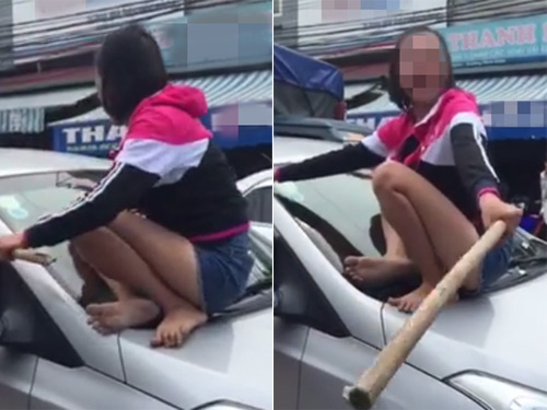 Vợ nhảy lên nắp capô đánh ghen chồng và bạn thân - 1