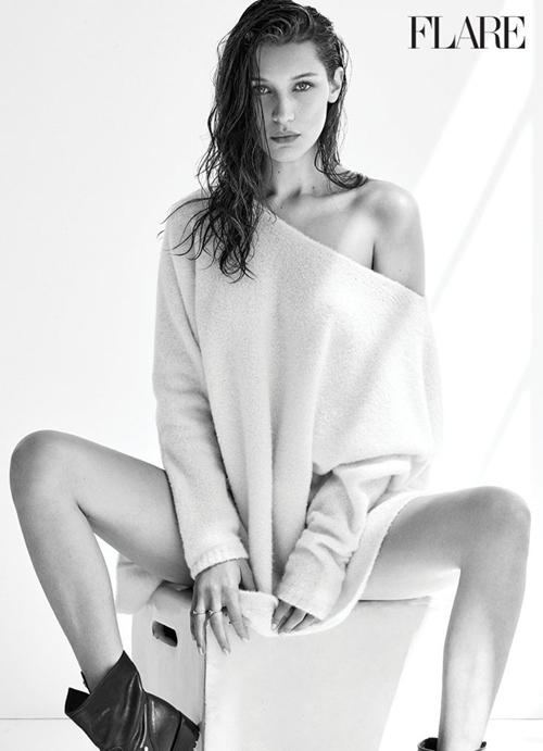 Bella Hadid hờ hững khoe ngực trên tạp chí Flare - 4