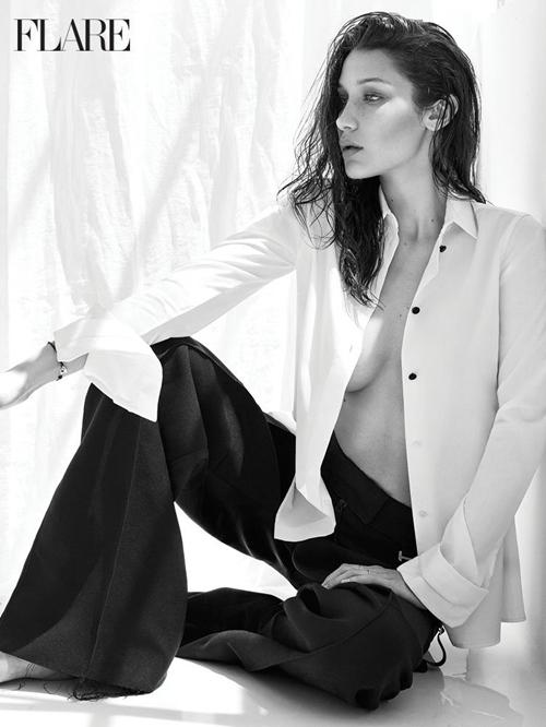 Bella Hadid hờ hững khoe ngực trên tạp chí Flare - 3