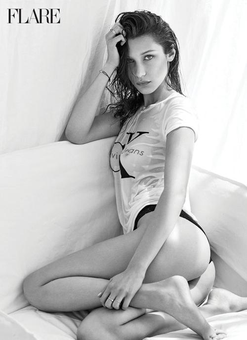 Bella Hadid hờ hững khoe ngực trên tạp chí Flare - 6