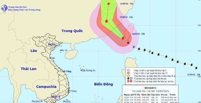 Siêu bão Meranti giật cấp 17 tiến vào Biển Đông - 1