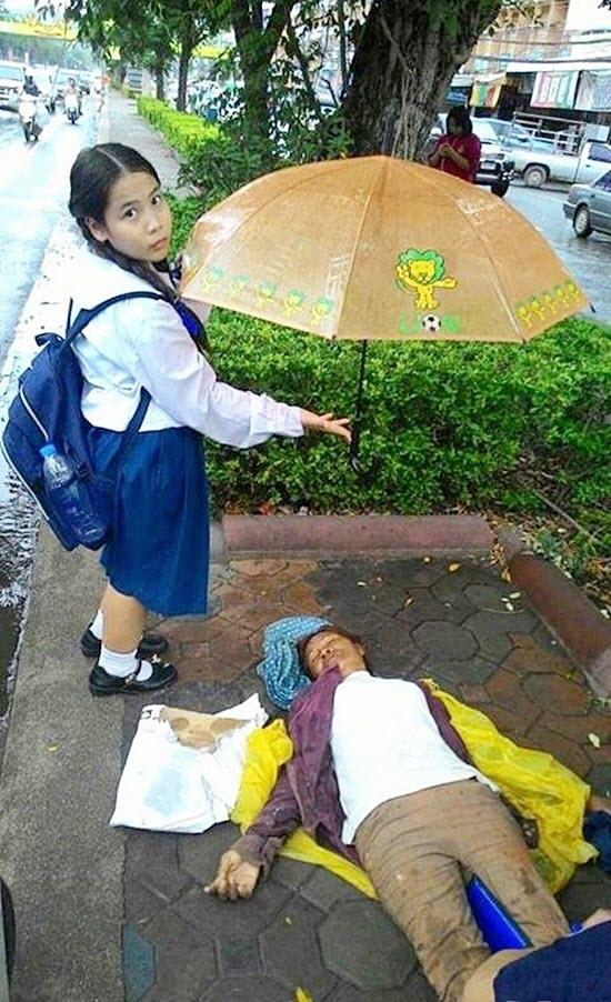 Cảm phục cô bé đứng dầm mưa che ô cho người gặp nạn - 1