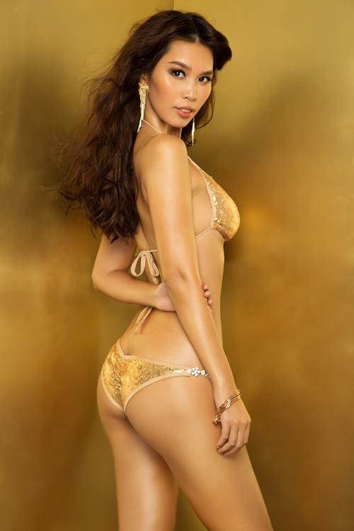 """Siêu mẫu Hà Anh """"đốt mắt"""" với bikini lấp lánh - 3"""