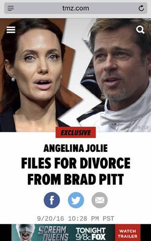 Fan và sao ngỡ ngàng vì Angelina và Brad tan vỡ - 1