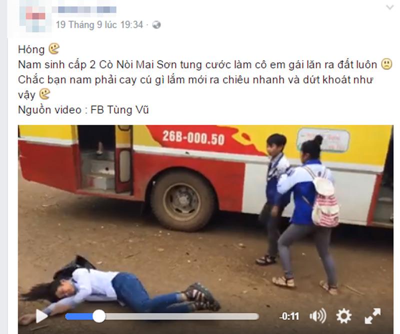 Clip: Nam sinh lớp 8 đánh nữ sinh lớp 10 gục xuống đất - 2