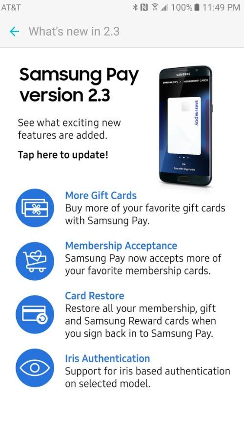 Samsung Pay đã cập nhật đồng bộ lưu trữ đám mây, hỗ trợ máy quét mống mắt - 1