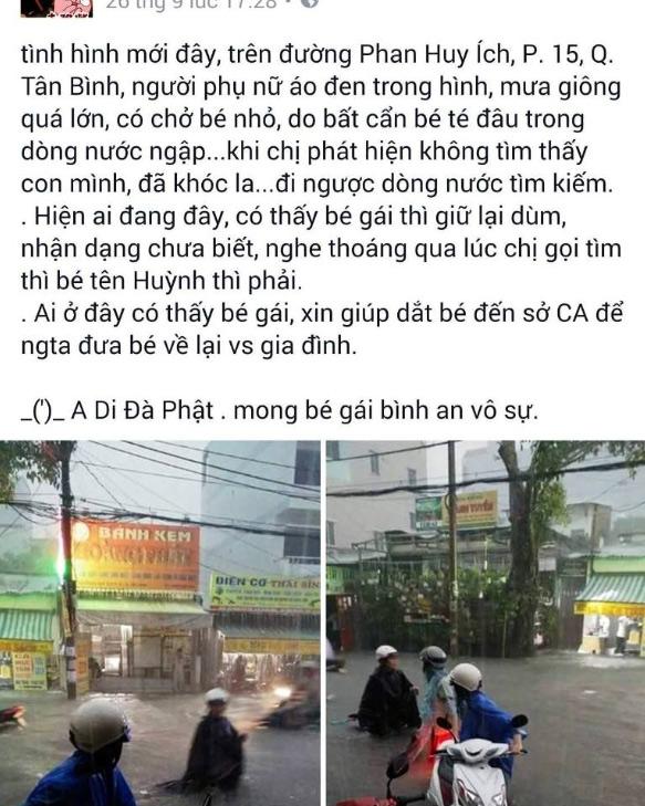 Thực hư bé gái bị nước cuốn mất tích trên phố Sài Gòn - 1