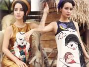 Mai Thu Huyền đẹp lúng liếng với váy họa tiết dân gian