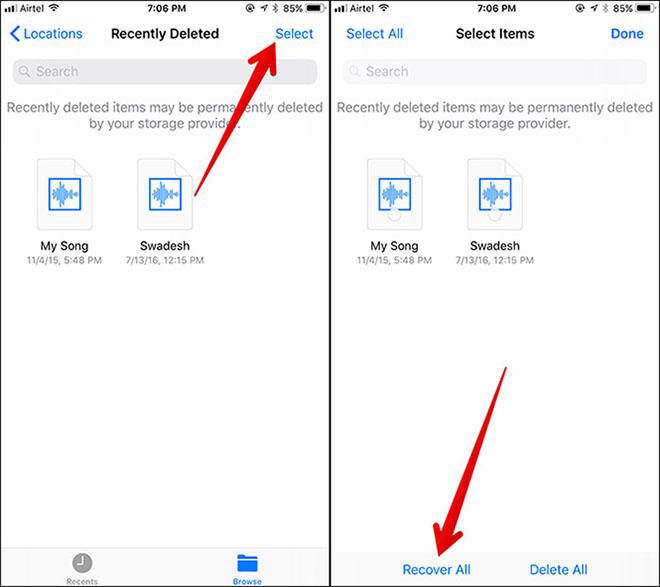 Phục hồi dữ liệu đã xóa bằng ứng dụng Files trên iOS 11 - 2
