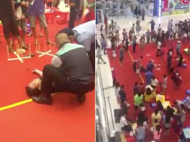 Clip: Thanh niên nằm bất động sau khi nhảy từ lầu 3 trung tâm thương mại - 1