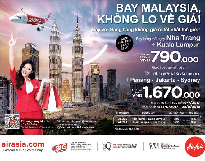 AirAsia mở đường bay thẳng từ Nha Trang đến Kuala Lumpur, Malaysia - 1