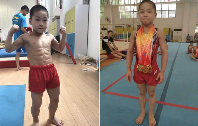 """Thần đồng sức mạnh Trung Quốc: 7 tuổi, """"8 múi"""" và 6 HCV - 1"""
