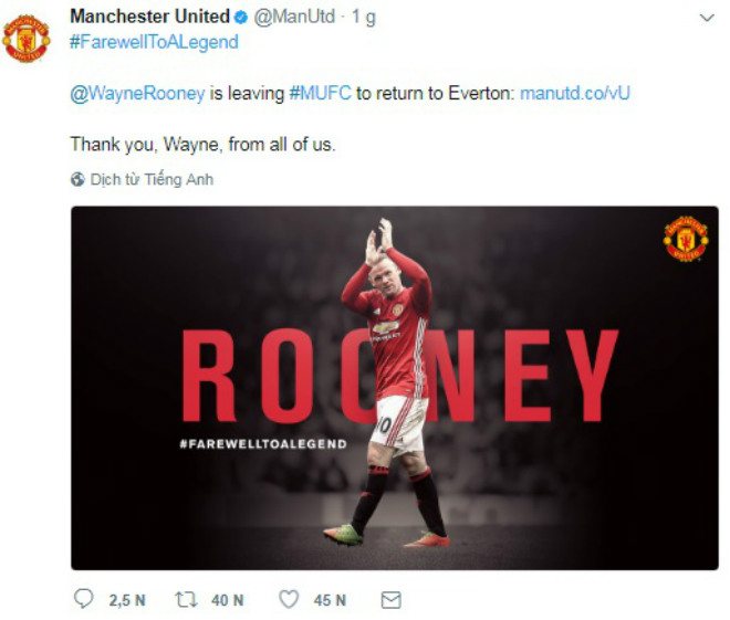 Rooney trở về Everton, Fan MU nức nở chia tay huyền thoại - 1
