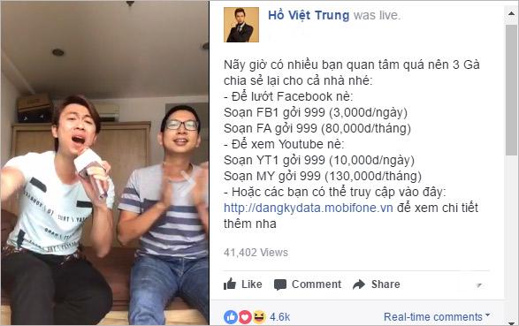 Hồ Việt Trung livestream hát Bolero với gói Facebook data siêu rẻ - 1