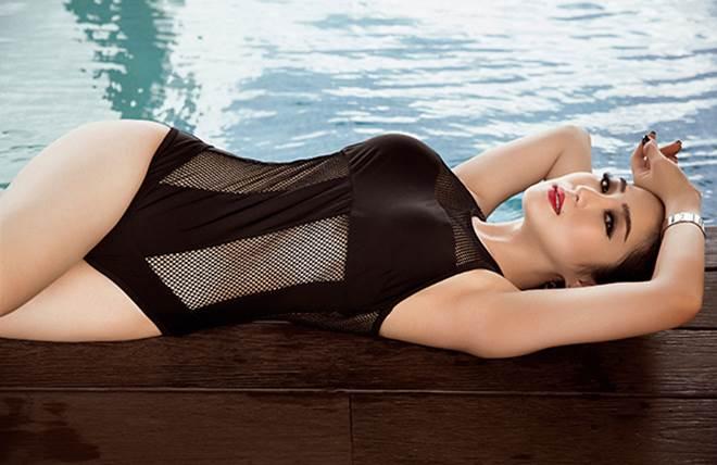 Hương Tràm khoe 3 vòng đẹp hoàn mỹ với đồ bơi lưới - 8