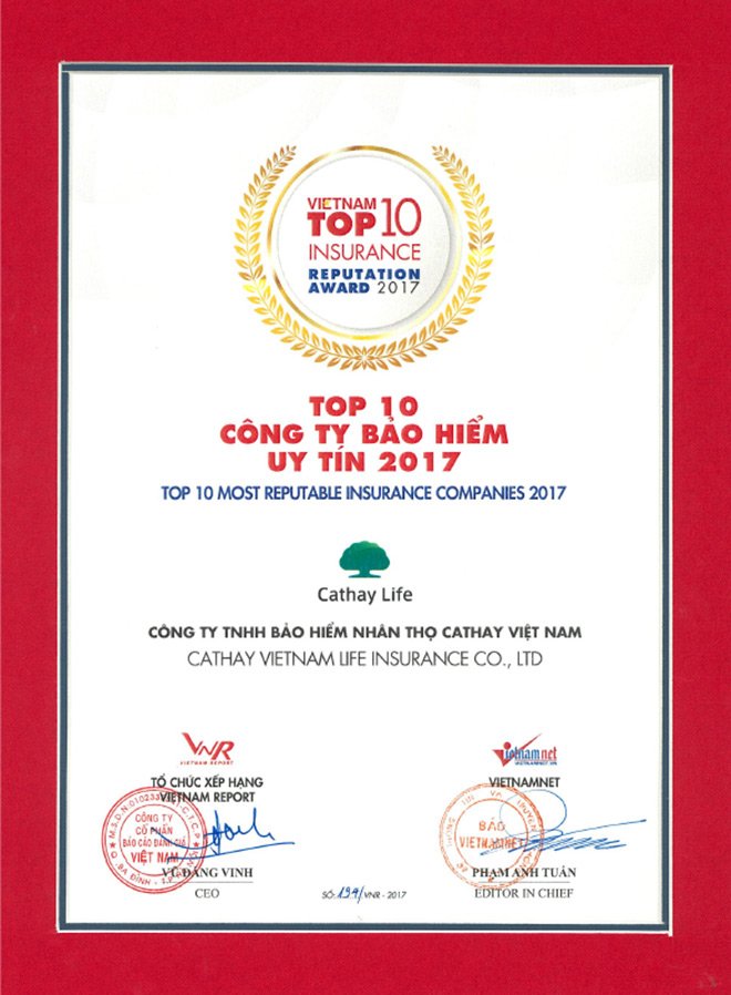 Bảo hiểm nhân thọ Cathay Việt Nam đạt giải thưởng top 10 công ty bảo hiểm uy tín năm 2017 - 1