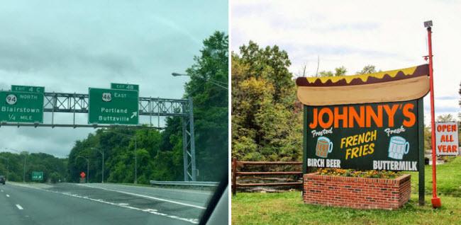 Buttzville, New Jersey: Thị trấn được đặt tên theo người sáng lập Michael Robert Buttz vào năm 1839.