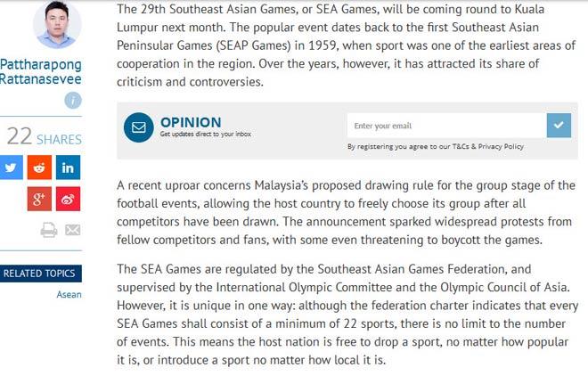 Báo Trung Quốc chê ao làng SEA Games, người Thái đòi theo Olympic - 1