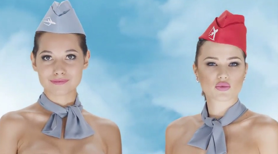 Tiếp viên hàng không Kazakhstan khỏa thân quảng cáo gây sốc - 1