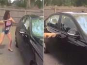 Phát hiện chồng ngoại tình, vợ vác búa đập nát xe sang