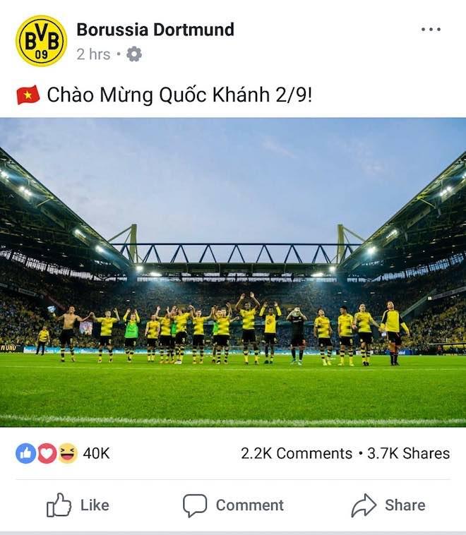 Bất ngờ nhận hàng loạt lời chúc mừng Quốc khánh 2/9 từ Dortmund, Bayern, Arsenal, Chelsea... trên Facebook - 1