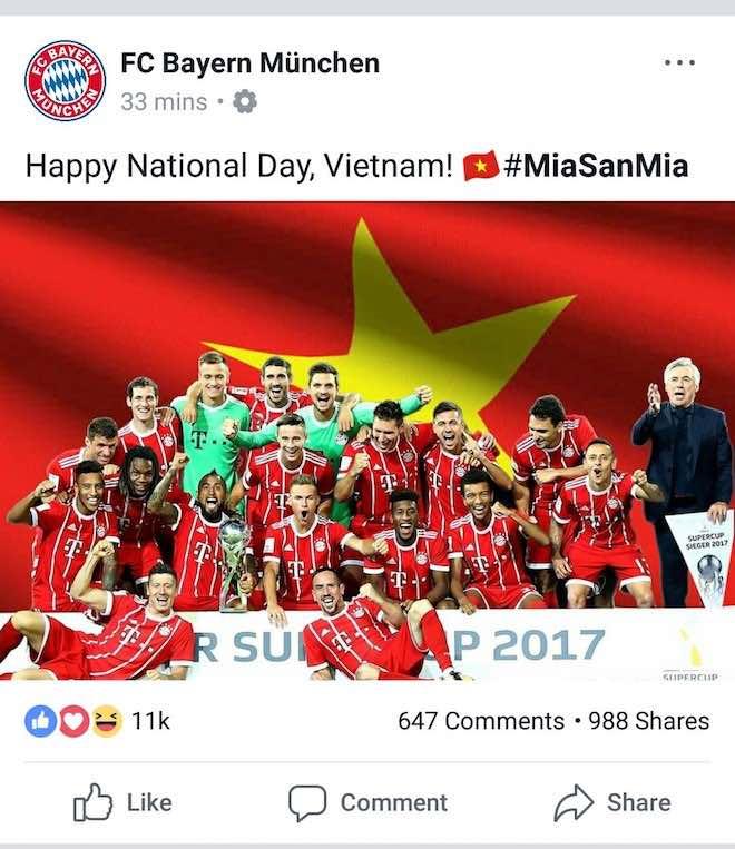 Bất ngờ nhận hàng loạt lời chúc mừng Quốc khánh 2/9 từ Dortmund, Bayern, Arsenal, Chelsea... trên Facebook - 2