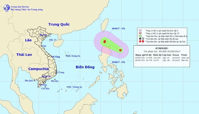 Áp thấp nhiệt đới giật cấp 9 di chuyển nhanh, hướng vào Biển Đông - 1
