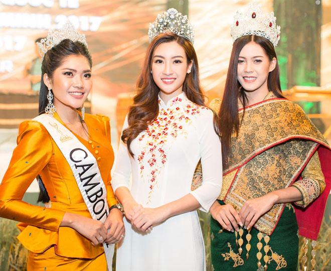 """Hoa hậu Lào """"xinh như tiên"""" lần đầu đọ sắc Đỗ Mỹ Linh - 1"""