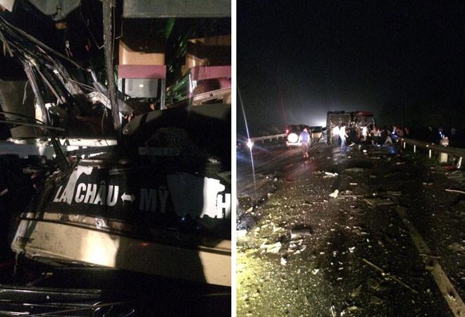 Xe khách và xe tải đâm nhau kinh hoàng, nhiều người gặp nạn - 1