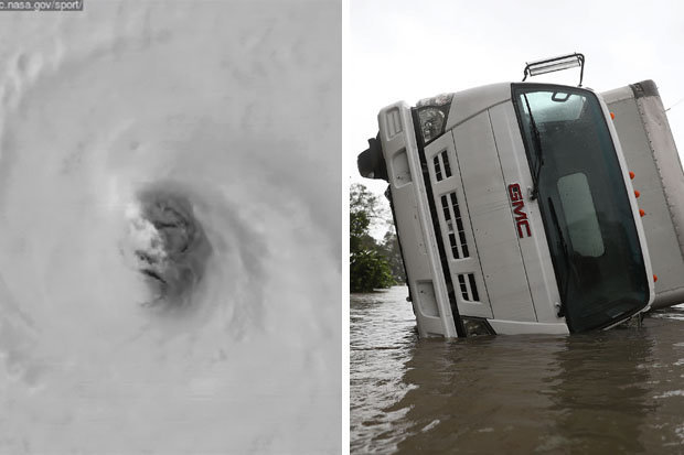 Hình khuôn mặt khổng lồ đáng sợ hiện ra khi siêu bão đổ bộ Mỹ - 1