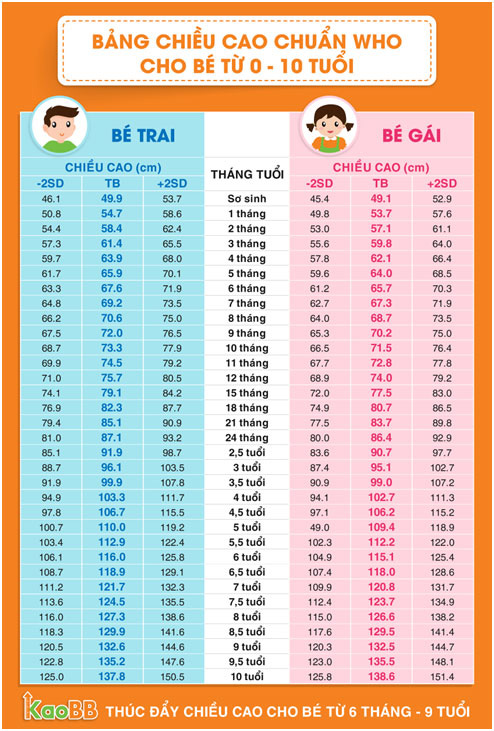 So ngay: bảng chiều cao chuẩn nhất cho trẻ 0 - 10 tuổi! - 1