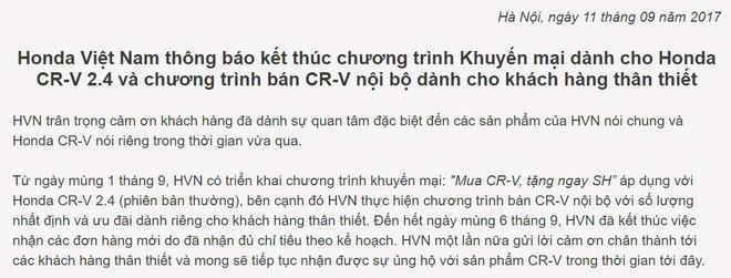 """Honda CR-V ở Việt Nam chính thức hết giảm giá """"sốc"""" - 1"""