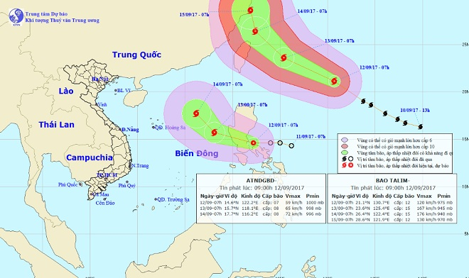 Siêu bão TALIM và áp thấp nhiệt đới hoạt động gần Biển Đông - 1