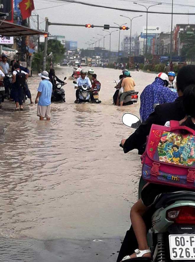 """Bão số 10 khiến đường Sài Gòn ngập sâu, Biên Hòa thành """"sông"""" - 14"""