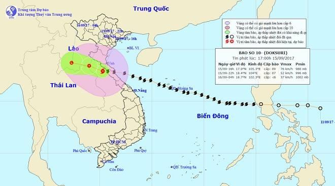 CẬP NHẬT bão số 10 ngày 15/9: Bão sang Lào sau 6 giờ quần thảo miền Trung - 30