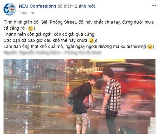 """Bất chấp mưa bão, chàng trai nằm lăn ra đường """"ăn vạ"""" người yêu - 1"""