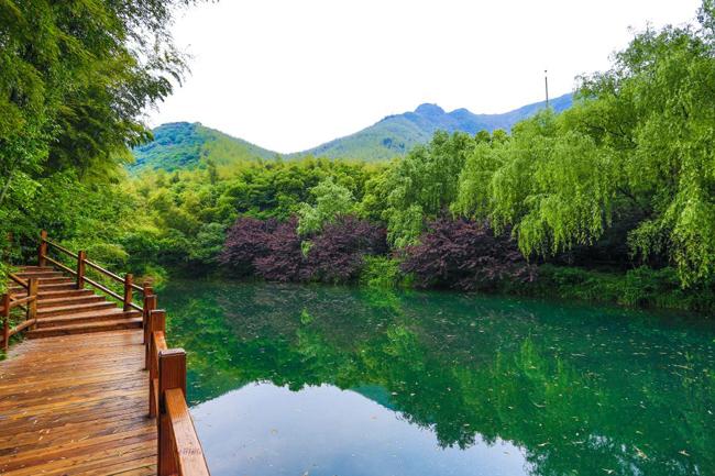 Do nơi đây nằm trong khu núi Thiên Mục nên có tên là Hồ Thiên Mục.