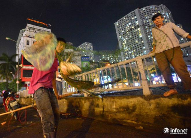 Người Hà Nội đổ xô bắt cá dưới sông Tô Lịch sau cơn mưa lớn - 10