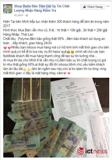 Mua tiền giả trên Facebook dễ như… mua rau - 4