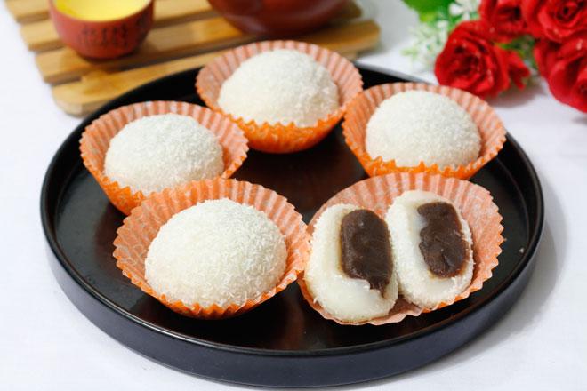 Công thức làm bánh mochi nhân đậu đỏ mềm dẻo, đơn giản tại nhà - 9