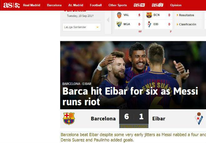 """Messi 9 bàn/5 trận: Báo chí thế giới choáng váng, gọi là """"vị Thần"""" ở Barca - 4"""