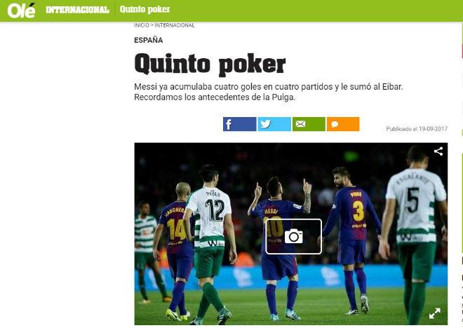 """Messi 9 bàn/5 trận: Báo chí thế giới choáng váng, gọi là """"vị Thần"""" ở Barca - 7"""